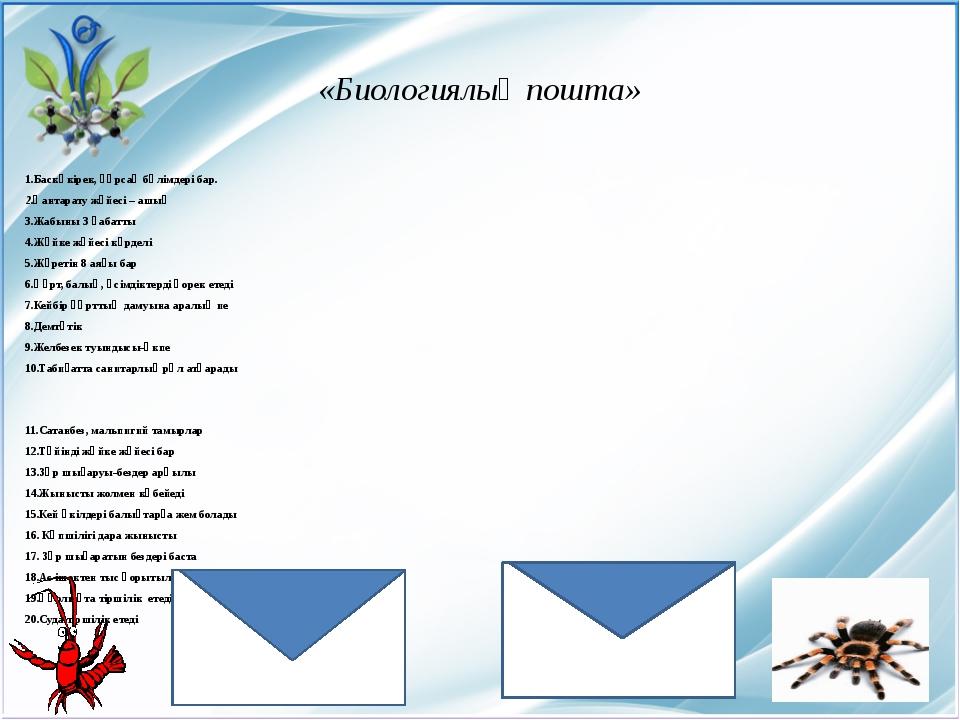 «Биологиялық пошта» 1.Баскөкірек, құрсақ бөлімдері бар. 2.Қантарату жүйесі –...