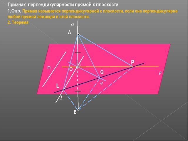Признак перпендикулярности прямой к плоскости Опр. Прямая называется перпенди...