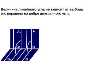 Величина линейного угла не зависит от выбора его вершины на ребре двугранного