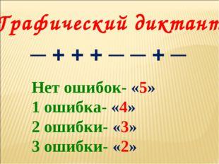 Графический диктант ─ + + + ─ ─ + ─ Нет ошибок- «5» 1 ошибка- «4» 2 ошибки- «