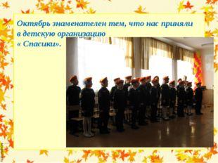 Октябрь знаменателен тем, что нас приняли в детскую организацию « Спасики».