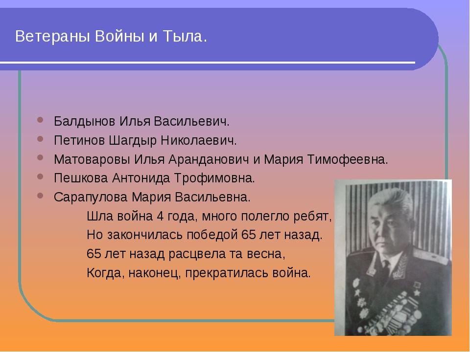 Ветераны Войны и Тыла. Балдынов Илья Васильевич. Петинов Шагдыр Николаевич. М...