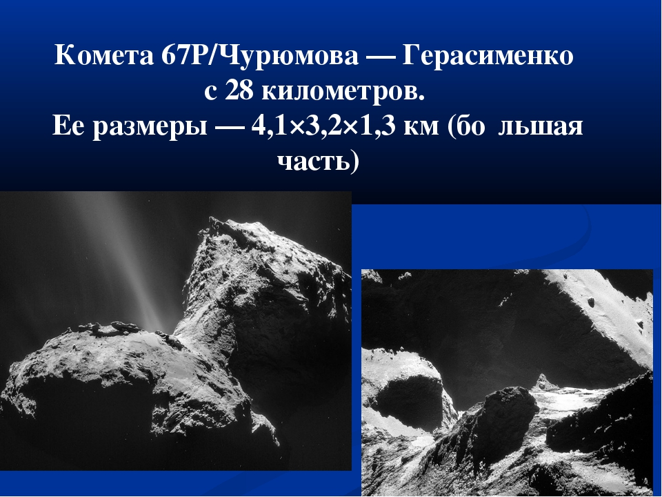 Комета 67P/Чурюмова — Герасименко с 28 километров. Ее размеры — 4,1×3,2×1,3 к...