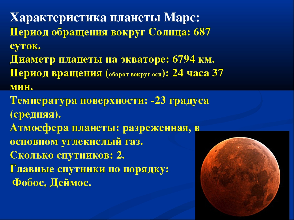 Характеристика планеты Марс: Период обращения вокруг Солнца: 687 суток. Диаме...
