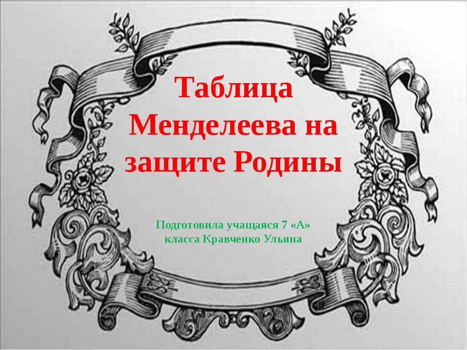 Таблица Менделеева на защите Родины Подготовила учащаяся 7 «А» класса Кравчен...