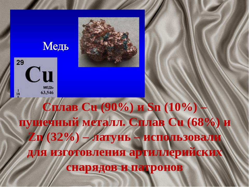 Сплав Cu (90%) и Sn (10%) – пушечный металл. Сплав Cu (68%) и Zn (32%) – лату...