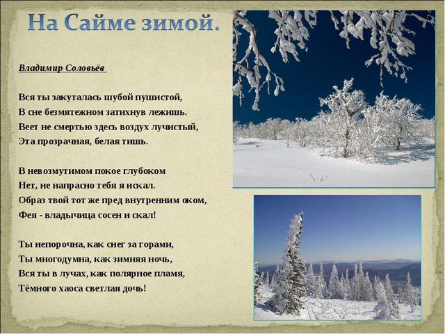 Владимир Соловьёв Вся ты закуталась шубой пушистой, В сне безмятежном затихн...