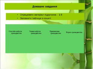 Домашнє завдання Опрацювати матеріал підручника - § 8 Заповнити таблицю в зош