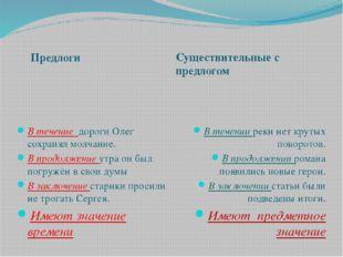 Предлоги Существительные с предлогом В течение дороги Олег сохранял молчание