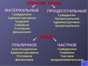 ОТРАСЛИ ПРАВА ПРОЦЕССУАЛЬНЫЕ Гражданско- Процессуальное Административно- проц