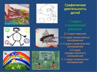 Графическая деятельность детей Стадии становления рисунка: 1.Стадия марания 2