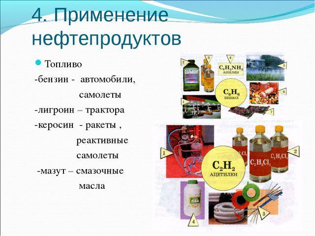 4. Применение нефтепродуктов Топливо -бензин - автомобили, самолеты -лигроин...