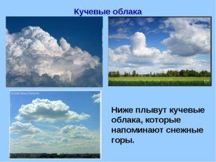 Кучевые облака Ниже плывут кучевые облака, которые напоминают снежные горы.