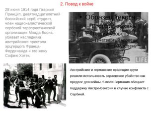 2. Повод к войне 28 июня 1914 года Гавриил Принцип, девятнадцатилетний босний