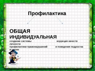 Профилактика ОБЩАЯ ИНДИВИДУАЛЬНАЯ создание системы корреция качеств личности
