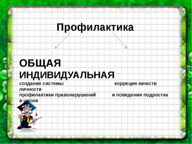 Профилактика ОБЩАЯ ИНДИВИДУАЛЬНАЯ создание системы корреция качеств личности...