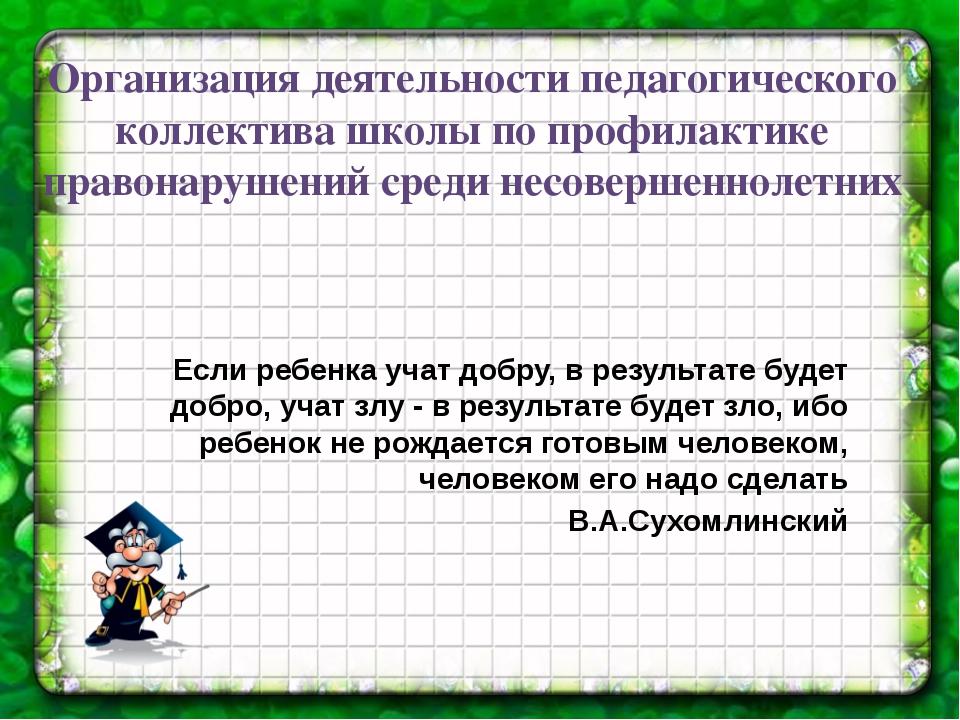 Организация деятельности педагогического коллектива школы по профилактике пра...
