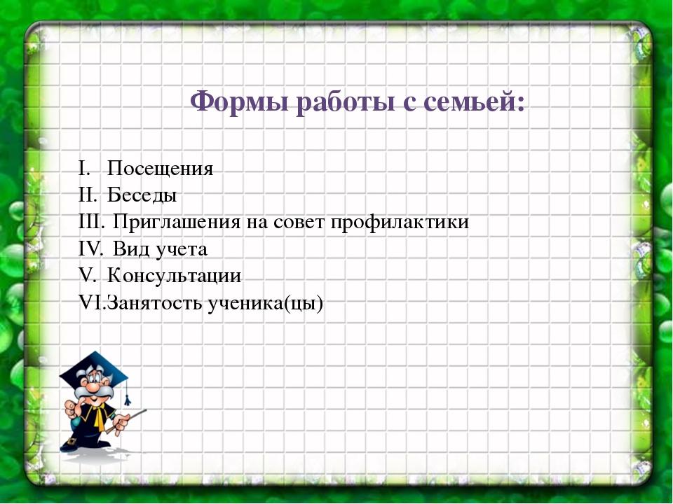 Формы работы с семьей: Посещения Беседы Приглашения на совет профилактики Вид...