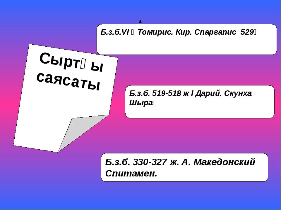 Сыртқы саясаты Б.з.б.VI ғ Томирис. Кир. Спаргапис 529ғ Б.з.б. 519-518 ж І Дар...