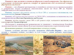 Равнины и горы являются основными формами земной поверхности. Они образовали