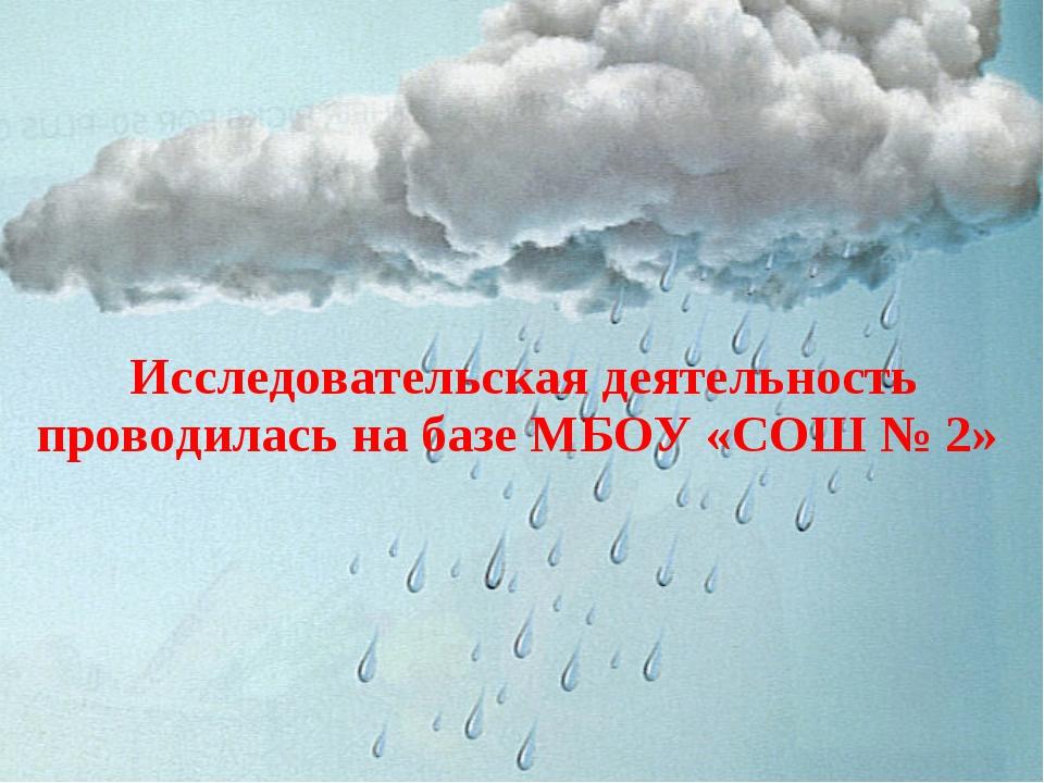 Исследовательская деятельность проводилась на базе МБОУ «СОШ № 2»