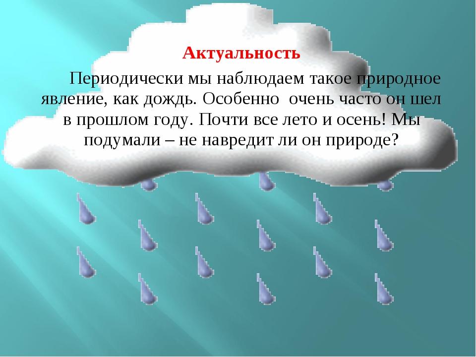 Актуальность Периодически мы наблюдаем такое природное явление, как дождь. Ос...