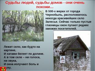 Судьбы людей, судьбы домов - они очень похожи… В 500-х мерах от города Черноб