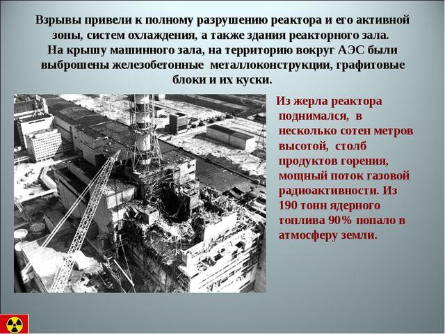 Взрывы привели к полному разрушению реактора и его активной зоны, систем охл...