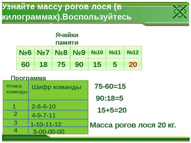 Узнайте массу рогов лося (в килограммах).Воспользуйтесь программой для ЭВМ №6...