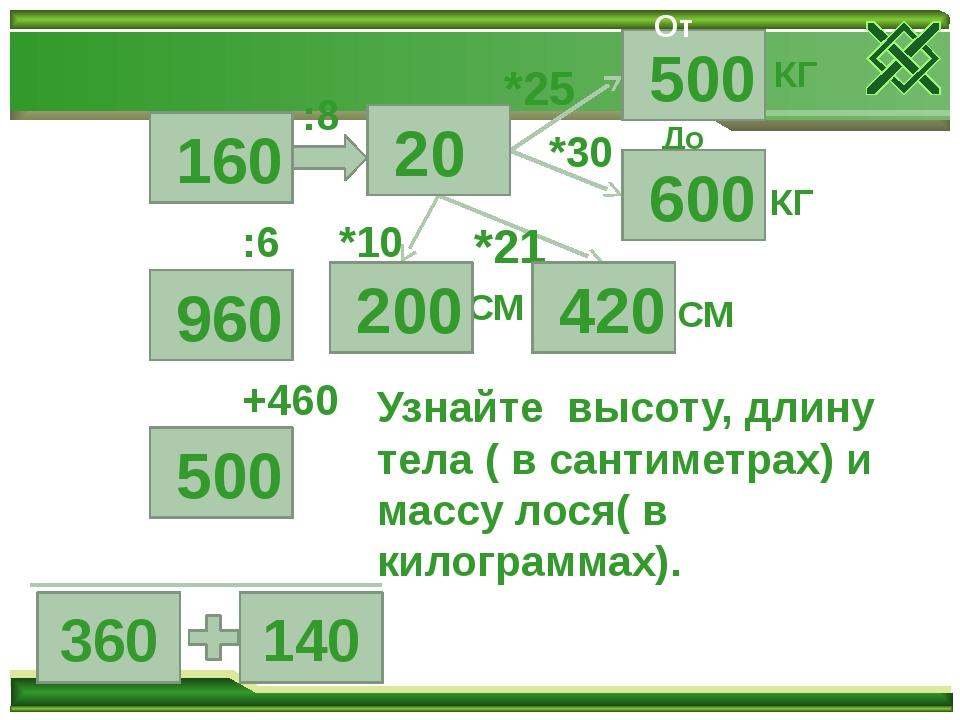 360 140 +460 :6 :8 *10 *21 *25 *30 СМ СМ КГ КГ До Узнайте высоту, длину тела...