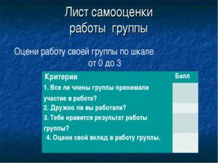 Лист самооценки работы группы Оцени работу своей группы по шкале от 0 до 3 К