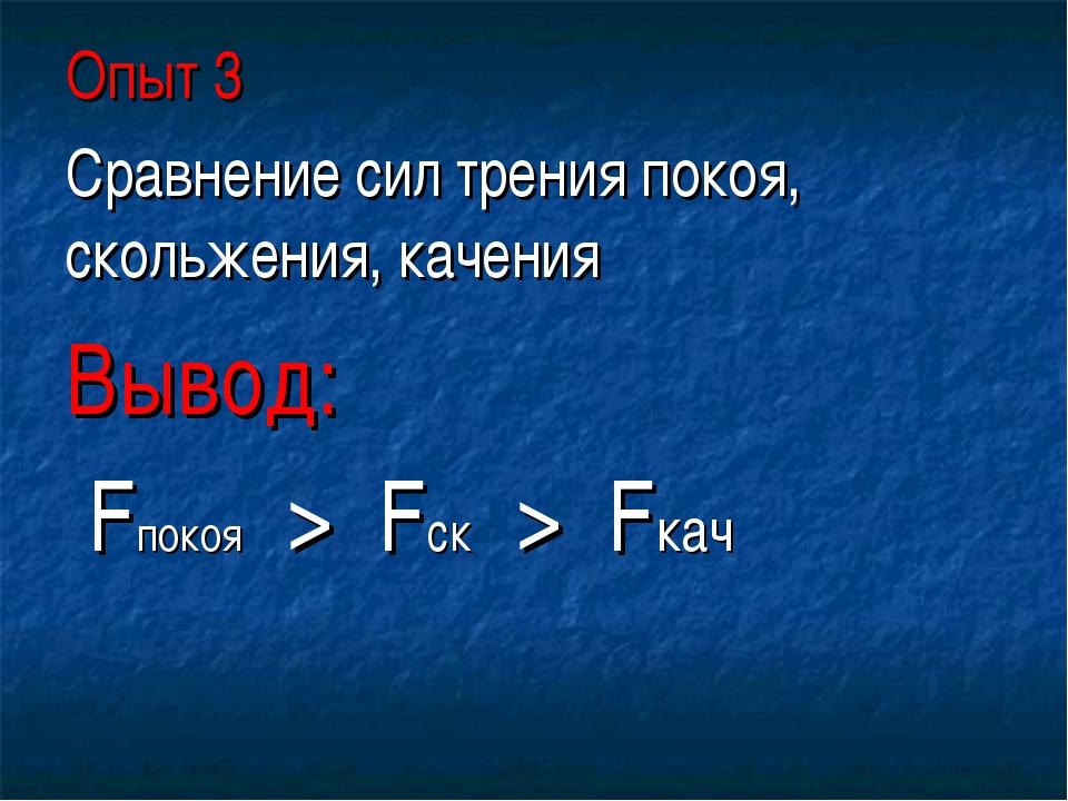 Опыт 3 Сравнение сил трения покоя, скольжения, качения Вывод: Fпокоя > Fск >...