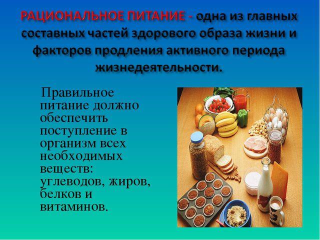 Правильное питание должно обеспечить поступление в организм всех необходимых...
