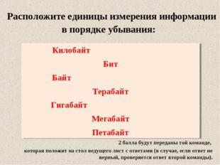 Расположите единицы измерения информации в порядке убывания: Килобайт Бит Ба