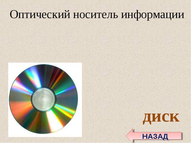 Оптический носительинформации диск НАЗАД