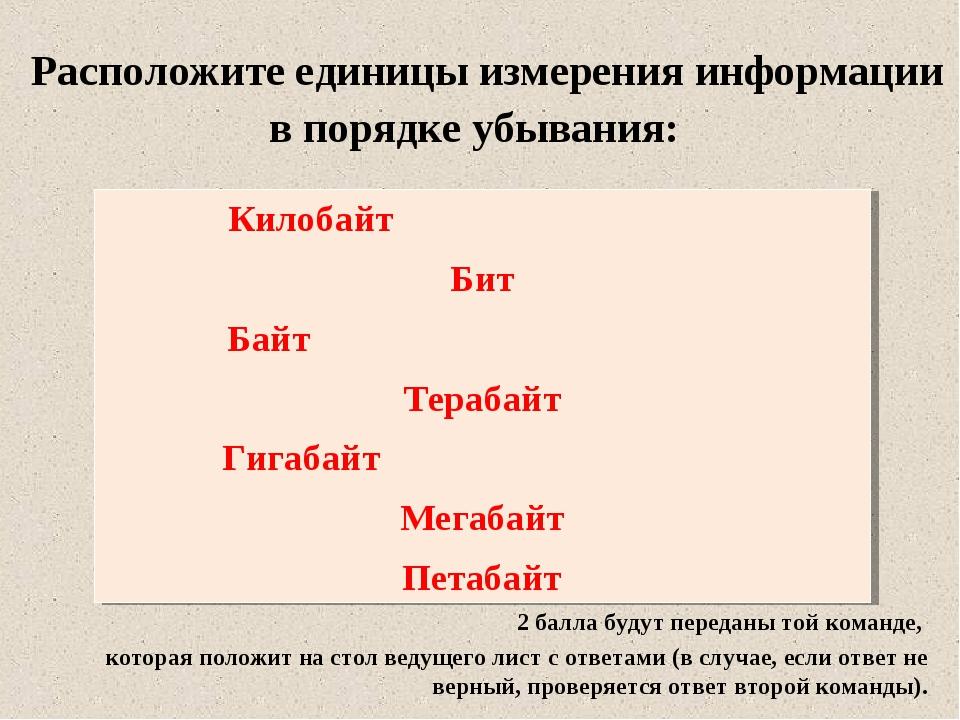Расположите единицы измерения информации в порядке убывания: Килобайт Бит Ба...