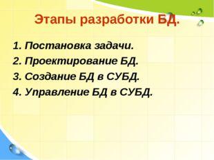 Этапы разработки БД. 1. Постановка задачи. 2. Проектирование БД. 3. Создание