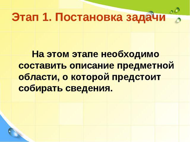 Этап 1. Постановка задачи На этом этапе необходимо составить описание предмет...