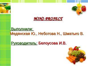 MINI-PROJECT Выполнили: Медянская Ю., Неботова Н., Шматько В. Руководитель: Б