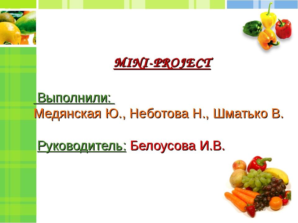MINI-PROJECT Выполнили: Медянская Ю., Неботова Н., Шматько В. Руководитель: Б...