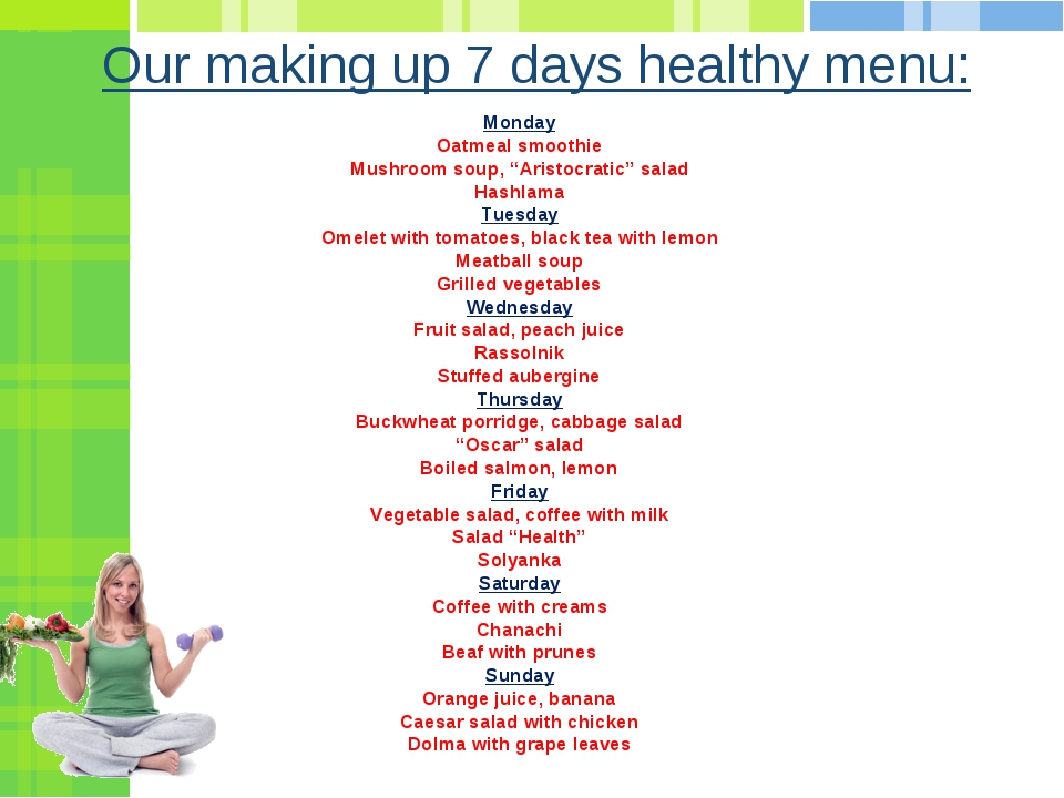 "Our making up 7 days healthy menu: Monday Oatmeal smoothie Mushroom soup, ""Ar..."