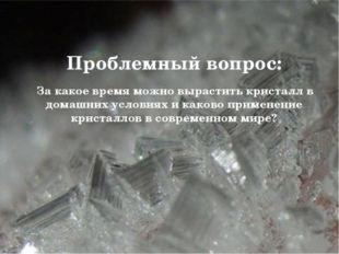 Проблемный вопрос: За какое время можно вырастить кристалл в домашних услови