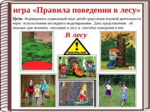 игра «Правила поведения в лесу» Цель: Формировать социальный опыт детей средс
