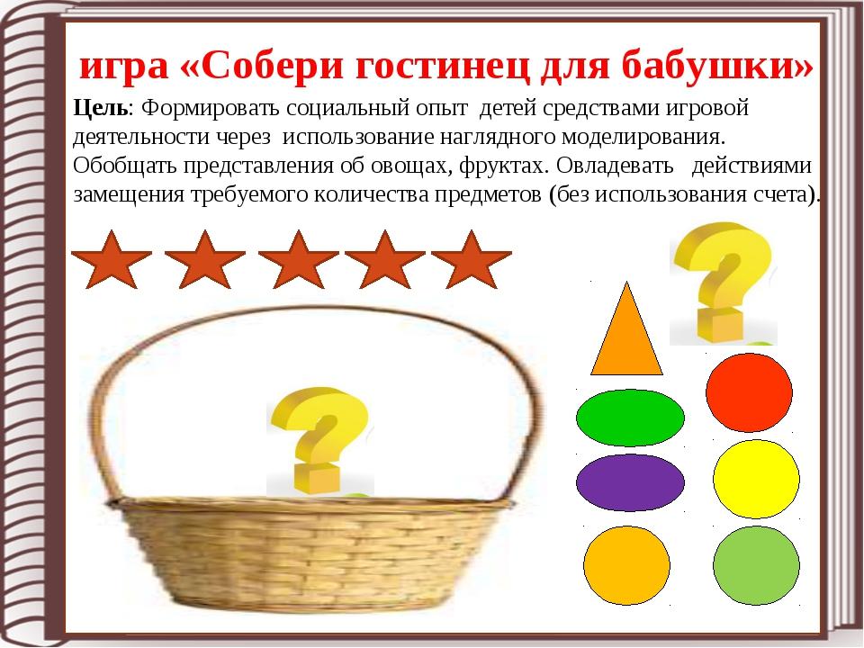 игра «Собери гостинец для бабушки» Цель: Формировать социальный опыт детей ср...