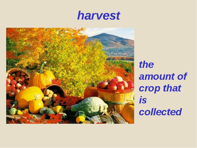 harvest the amount of crop that is collected