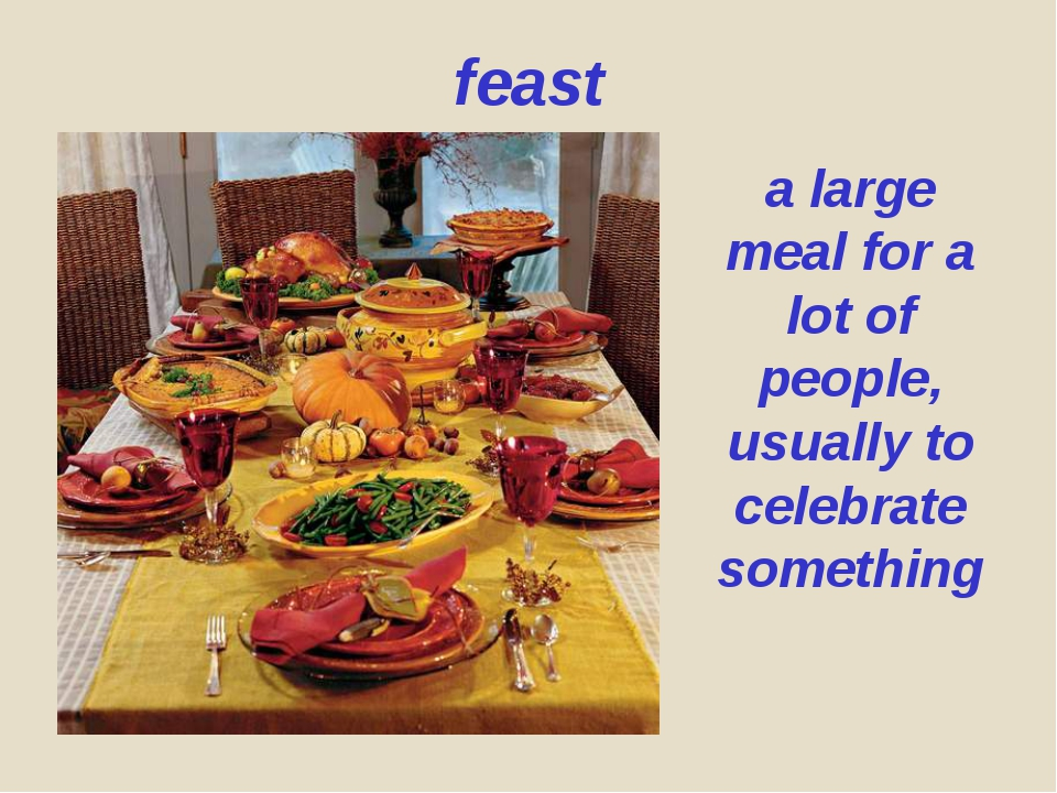 feast a large meal for a lot of people, usually to celebrate something