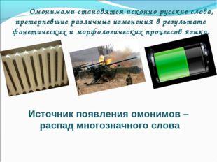 Омонимами становятся исконно русские слова, претерпевшие различные изменения