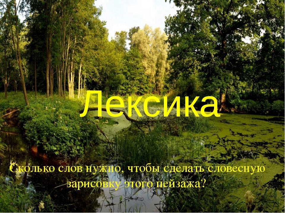Лексика Сколько слов нужно, чтобы сделать словесную зарисовку этого пейзажа???