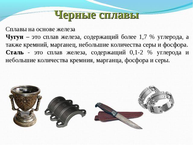 Черные сплавы Сплавы на основе железа Чугун – это сплав железа, содержащий бо...