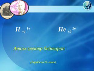 H +1 1e He +2 2e Атом-электр бейтарап (Зарядсыз бөлшек)